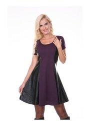 White Mark Women's Edgy Leather Panel Dress - Eggplant - Size: XL