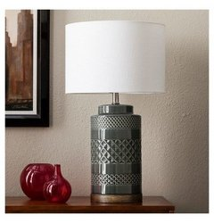 Threshold Wood and Ceramic Table Lamp with CFL Bulb - Jade