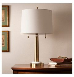 Table Lamp Thrshd Brass White
