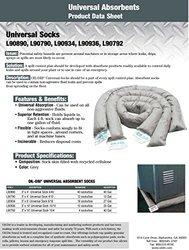"Oil-Dri L90934 3"" Diameter x 6' L Grey Universal Absorbent Sock with Recycled Cellulose Filling, (18 Socks/Box)"