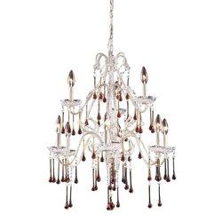 Elk Lighting 4003/6+3AMB 9 Light Chandelier, Antique White/Amber Crystal