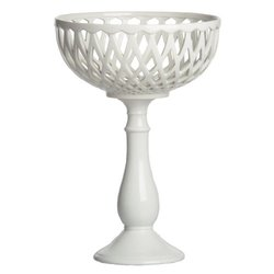 Abigails Footed Cut Out Centerpiece Bowl - White