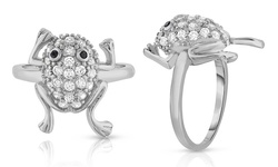 Pave Frog Cocktail Ring In 18k White Gold: 9