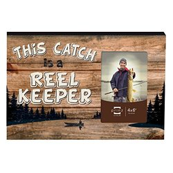 "Prinz ""This Catch is a Reel Keeper"" Wood box Sign with photo opening, 4 by 6-Inch"