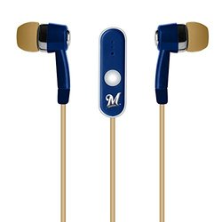 MLB Milwaukee Brewers Hands Free Earbuds with Microphone