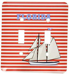 3dRose  lsp_100606_2 Florida with Sailboat On Nautical Red Stripes Double Toggle Switch