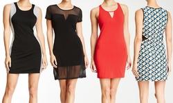 Womens Dresses: Sleeveless Crew Neck Racerback Red-beige/medium