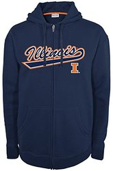 NCAA Illinois Illini Men's Fan Favorite 2 Full Zip Hooded Fleece Shirt, Small, Navy