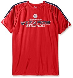 NBA Washington Wizards Men's Short Sleeved Birdseye Crew T-Shirt with Shoulder Piecing, 4X, Red
