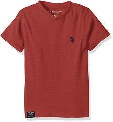 U.S. Polo Assn Big Boys' Half Burnout V-Neck T-Shirt, Red Heather, 10/12