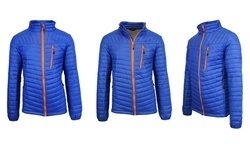 Spire by Galaxy Men's Puffer Jacket - Royal Blue-Orange - Size: Small