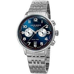 Akribos XXIV Men's Dual Time Stainless Steel Bracelet AKGP942SSBU