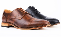 Signature Men's Cap Toe Brogue Lace-up Dress Shoes: Black - 11