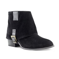 Olivia Miller Cypress Foldover Bottom Buckle Booties - Black - Size: 7