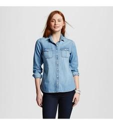 Mossimo Women's Denim Button Up Shirt - Blue - Size: X-Small