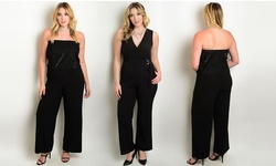 WFS Women's Jumpsuit Blouson Bodice & Wide Bottoms - Black - Size: 1X
