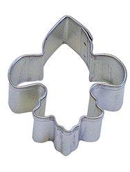 CybrTrayd R&M Fleur De Lis Tinplated Steel Cookie Cutter, Mini, Silver, Lot of 12