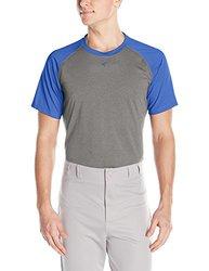 Easton Men's Short Sleeve Raglan Performance Shirt, Athletic Heather/Royal, Small
