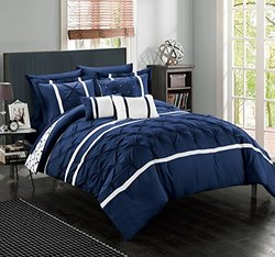 Chic Home Brentford Comforter Set (10-piece): Navy/queen