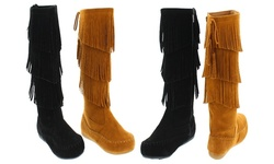 Mata Faux Suede Three Layers Fringe Boots: Black/7.5