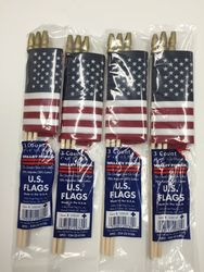 "Small Handheld American Flags Supply Party Favors - 3 Count - 4""x 6"""