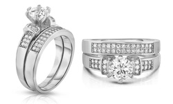 2-Piece Cubic Zirconia Wedding Band Set in 18K White Gold Plating - Size:8