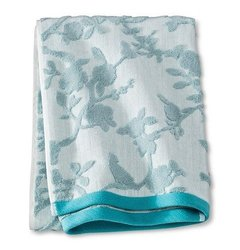 Threshold Bath Towel Blue Textured Floral - Muddy Aqua