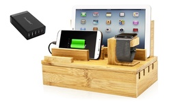 Powerbot Pb5100 Bamboo Universal Multi Device Cord Organizer & Usb Charger