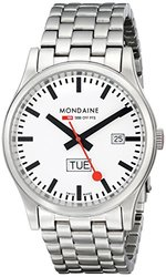 Mondaine Men's Sport I Day Date Steel Bracelet Watch - Grey/White
