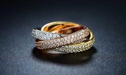 Three-tone & Swarovski Crystal Rolling Ring/5