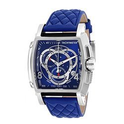 Invicta Men's S1 Rally Touring Quartz Swiss Quartz Chrono Leather Strap Watch Silvertone / Blue Men's