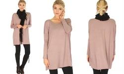 Lyss Loo Women's Long Sleeve Tunic Top - Mocha - Size: S-M