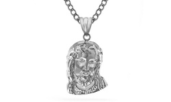 14kt Solid White Gold Jesus Head Pendant