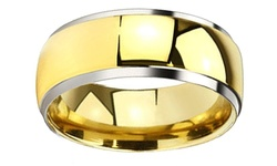 Spikes Men's High Polish Two Tone Domed Comfort Fit Ring - Gold - Size: 5