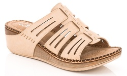 Lady Godiva Women's Comfort Wedge Sandal - Beige - Size: 9