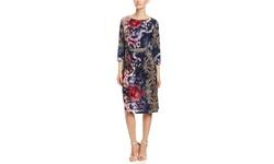 Mlle Gabrielle Elbow Sleeve Faux Wrap Dress - Multicolor - Size: XL