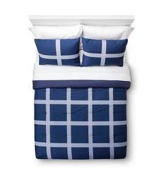 Room Essentials Linework Mini Plaid Comforter 3 Pc Set - Blue -Siz:Twin XL