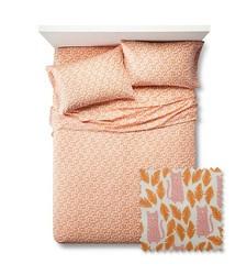 Pillowfort 3 Pc Feline Frolic Sheet Set - Orange - Size: Queen