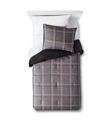 Pillowfort 3 PC Hand Drawn Plaid Comforter Set - Gray - Size: Full/Queen