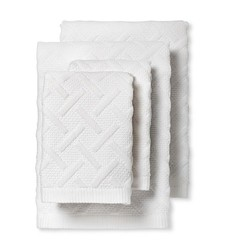 Fable Vienne Textured Bath Towel Set of 4 - White