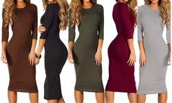 Womens 3/4 Sleeve Midi Bodycon Dress: Navy Blue/xs