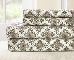 100-percent Cotton Printed 4-piece Casablanca Sheet Set - Stone - Sz: Full