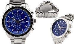 NY London Men's Bracelet Watches - Silver Band/Blue Dial