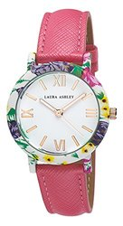 Laura Ashley Ladies Floral Bezel Watch: Pink Band