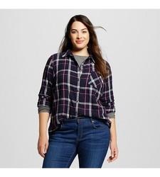 Ava & Viv Women's Plaid Button Down Shirt - Navy - Size: X-Large