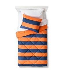Pillowfort 2 Pc Rugby Stripe Comforter Set - Orange/Navy - Size: Twin