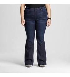 Ava & Viv Women's Solid Flare Jeans - Dark Blue - Size: 14W