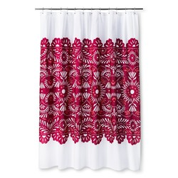 "Sabrina Soto Lace Shower Curtain - White/Rasberry - Size: 72""x72"""