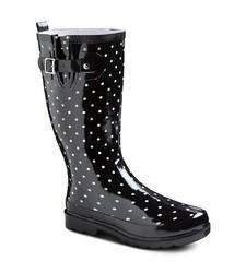 Western Chief Women's Polka Dot Rainboots - Black - Size: 8