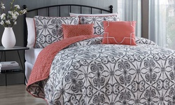Geneva Home Paloma 5-Piece Quilt Set - Grey - Size: King